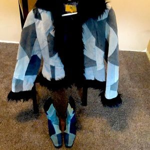 ADORABLE MATCHING COAT AND BOOTS SET! 🦋 like new